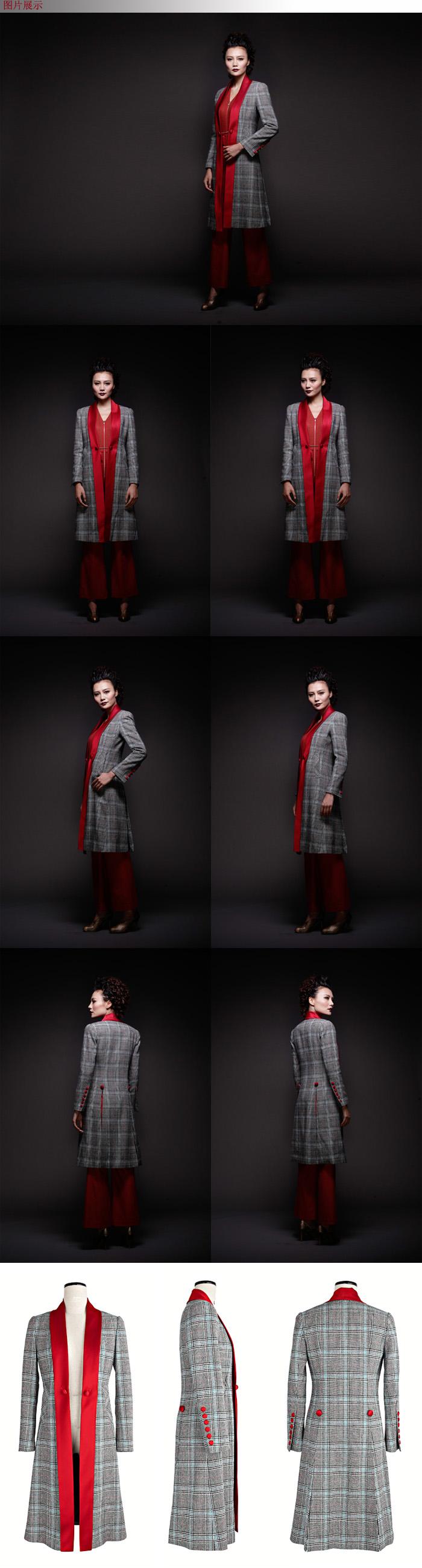 bgthree独立设计师品牌 羊毛格纹呢对襟长款素缎拼接大衣