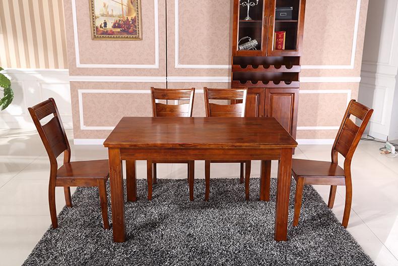 丽姿 香樟木实木饭桌餐桌椅组合 1餐桌4椅