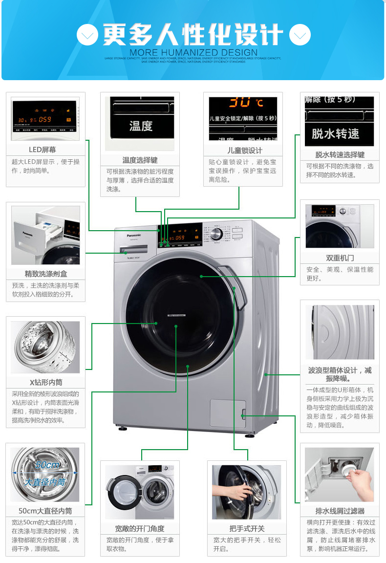 松下(panasonic) xqg75-e7132家用7.5kg全自动省电静音滚筒洗衣机