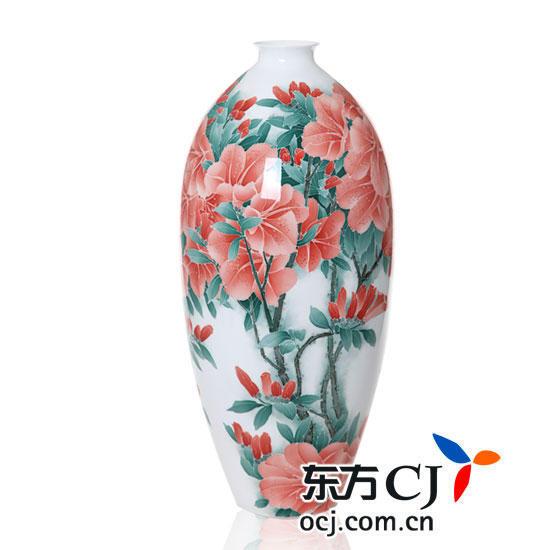 """黄小玲(中国陶瓷艺术大师)""""映山红""""玉兰花瓶真迹"""
