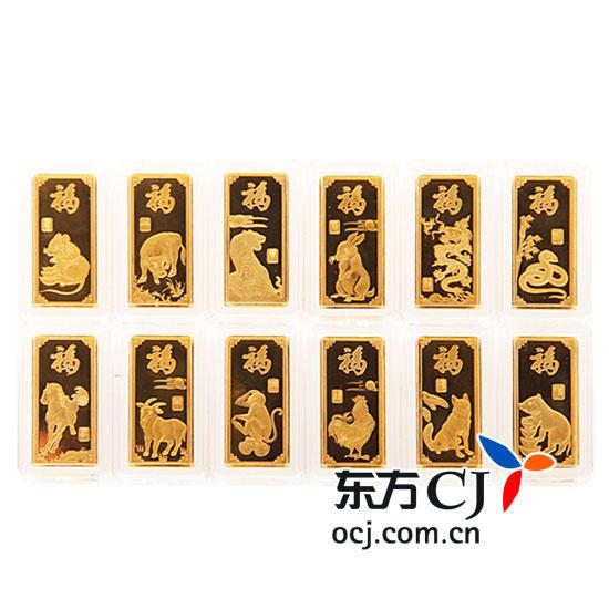 """亚一百福""""十二生肖""""金条套装120g图片"""