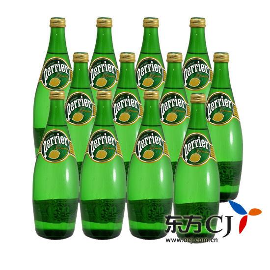 Perrier 饮料, 法国 巴黎 含气柠檬味饮料 750ml 12瓶装 东方购物,东图片