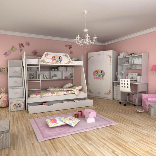 酷漫居 迪士尼公主玫瑰梦高低床(全木架)儿童家具套房三件套f