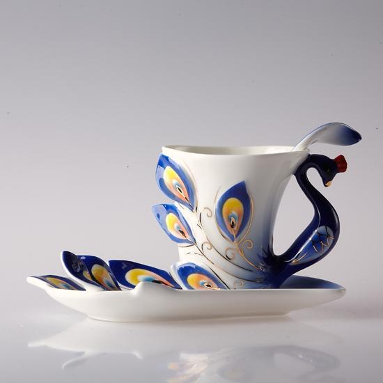 彩瓷孔雀三头咖啡杯(蓝色)