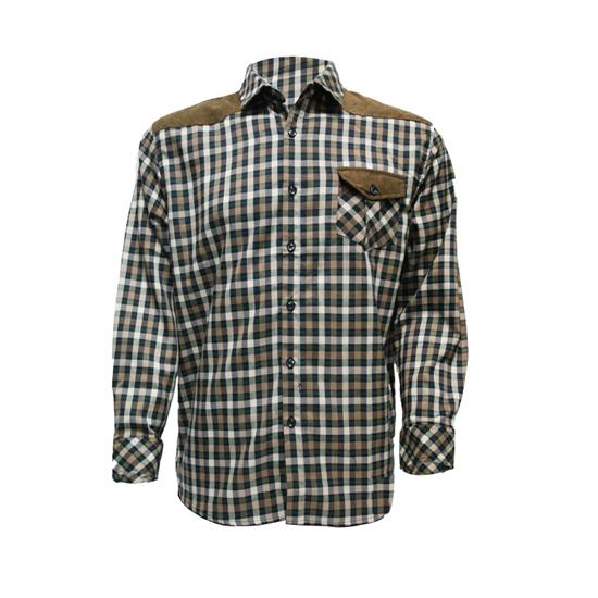 男士格子花纹拼色拼皮长袖衬衫
