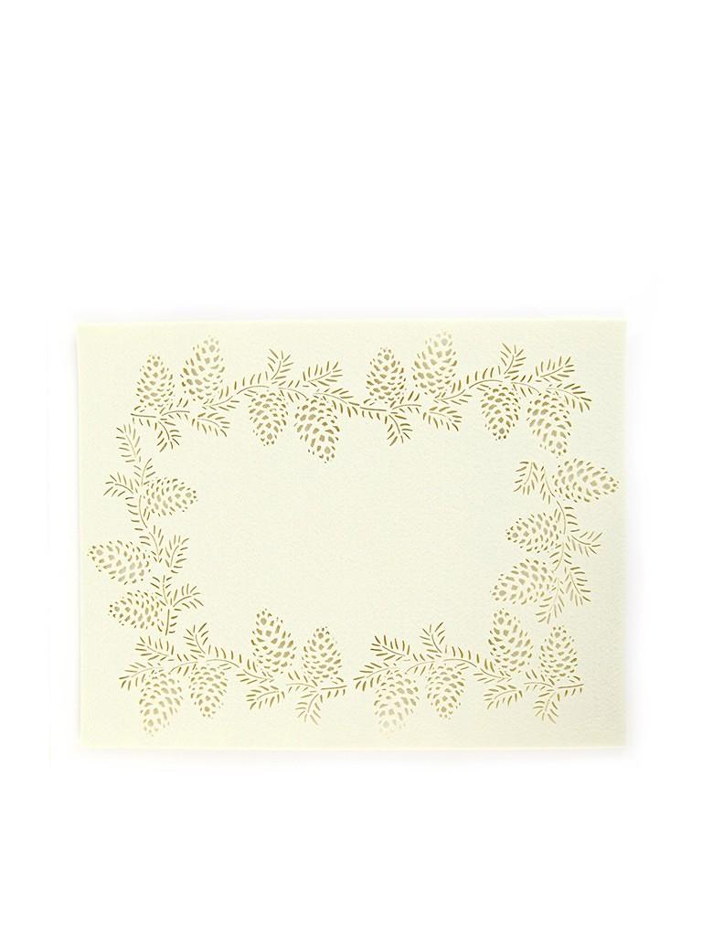 homix 镂空松果长方形 乳白色 毛毡 隔热餐垫