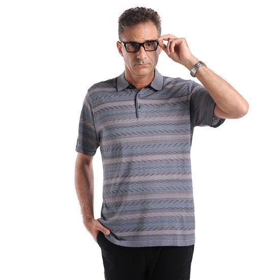 古莱达男士丝质条纹暗花花纹短袖t恤蓝色图片