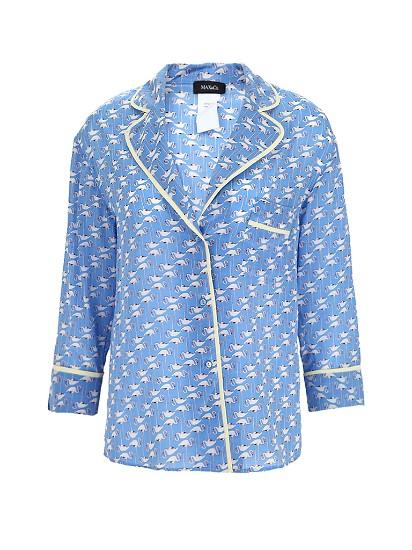 真丝材质丹顶鹤印花女士七分袖衬衫
