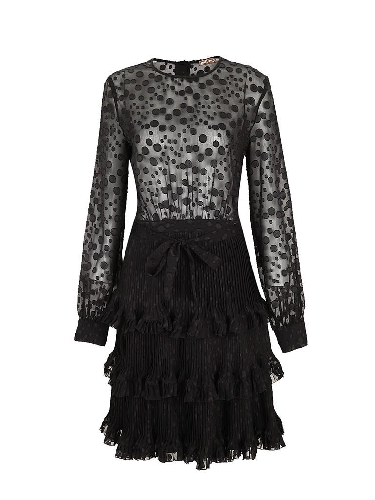 galliano混合材质波点图案蛋糕裙摆设计女士长袖连衣裙