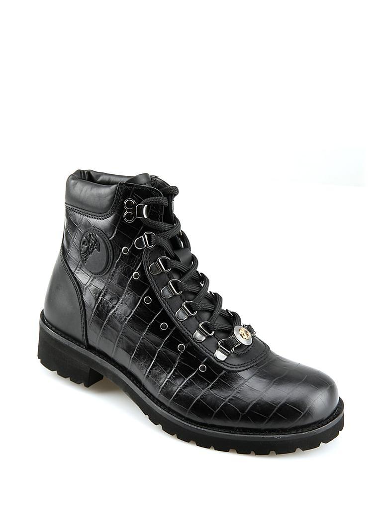 versace范思哲牛皮材质动物纹图案男士马丁靴